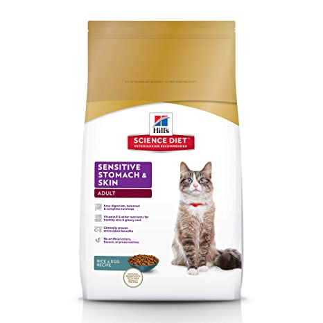 Hill's Science Diet Dry Cat Food, Adult, Sensitive Stomach & Skin, Chicken &
