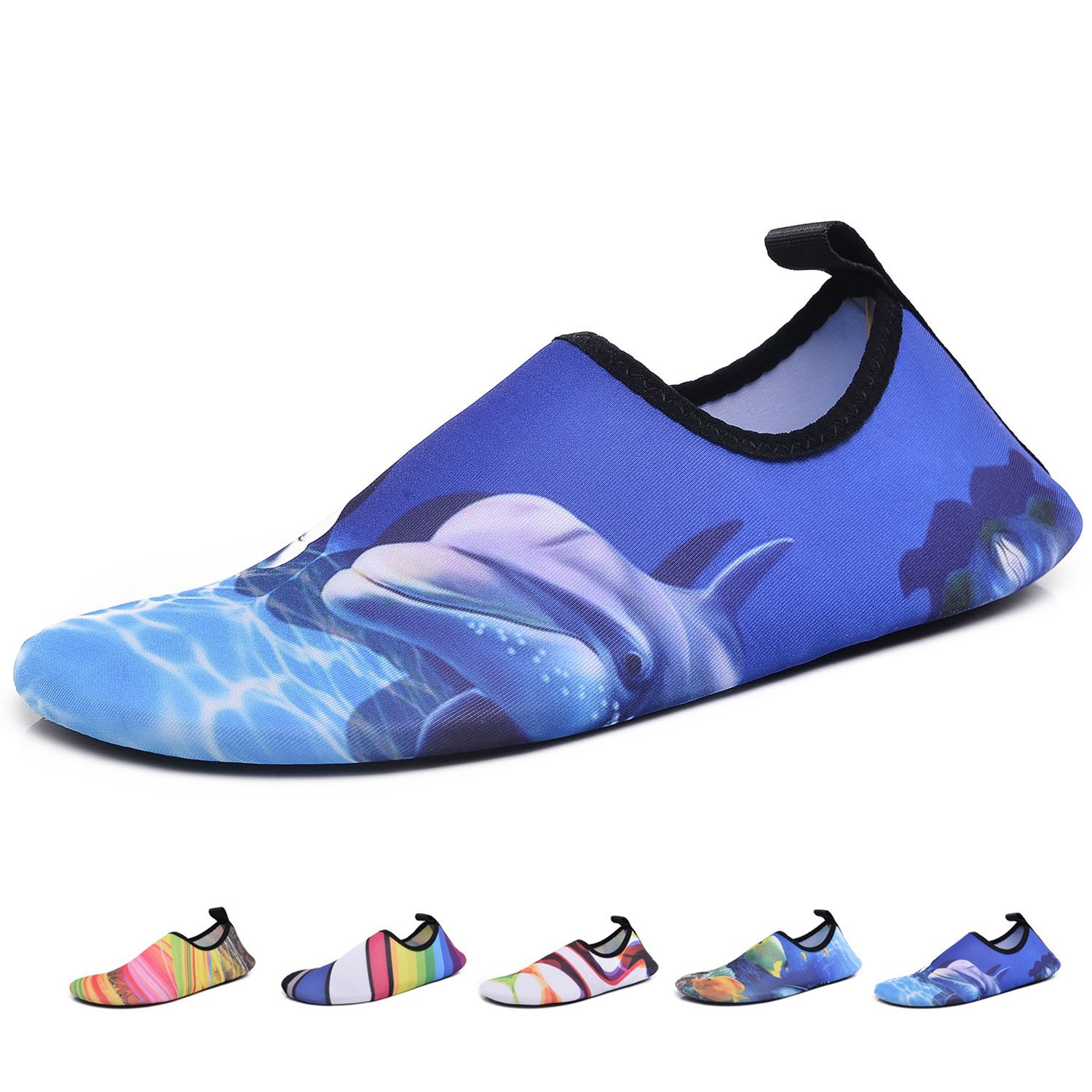Men Women Kids Water Shoes Summer Quick Dry Barefoot Aqua Socks for Yoga Swim Pool Beach Game Surf Diving Gym Exercise, Dolphin Blue W: 8-9 / M: 7-7.5