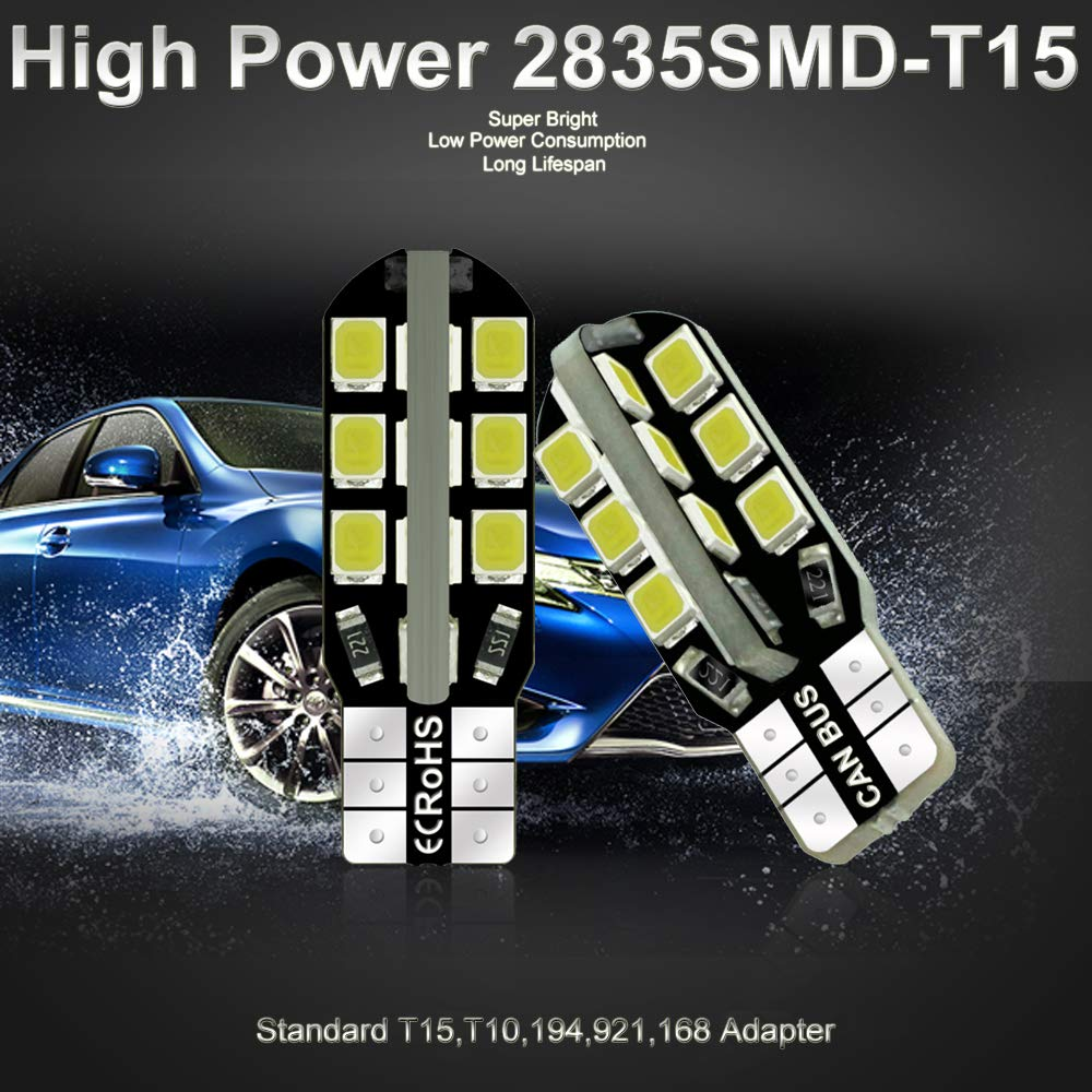 Debonauto-30 x T15 LED Light Bulb Super Bright 6000k 12v T10 921 168 194 Trailer,Boat,RV,Iandscaping /& Camper Interior Wedge 24-SMD Pure White