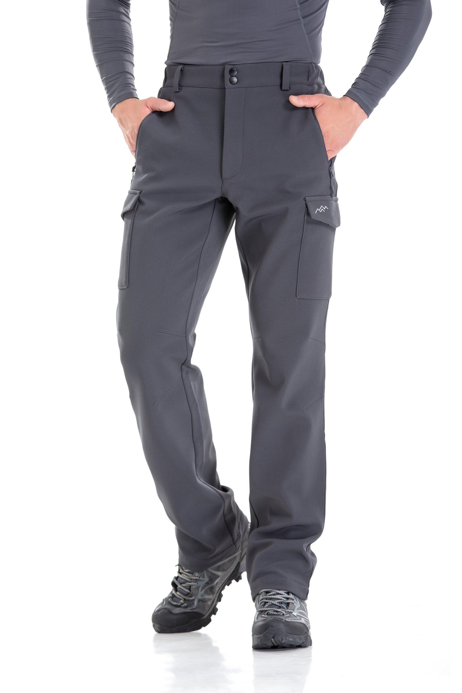 18aceacb6c6d3 Men's Water-Repellent Softshell Fleece-Lined Cargo Pant (Dark Grey-2XL)