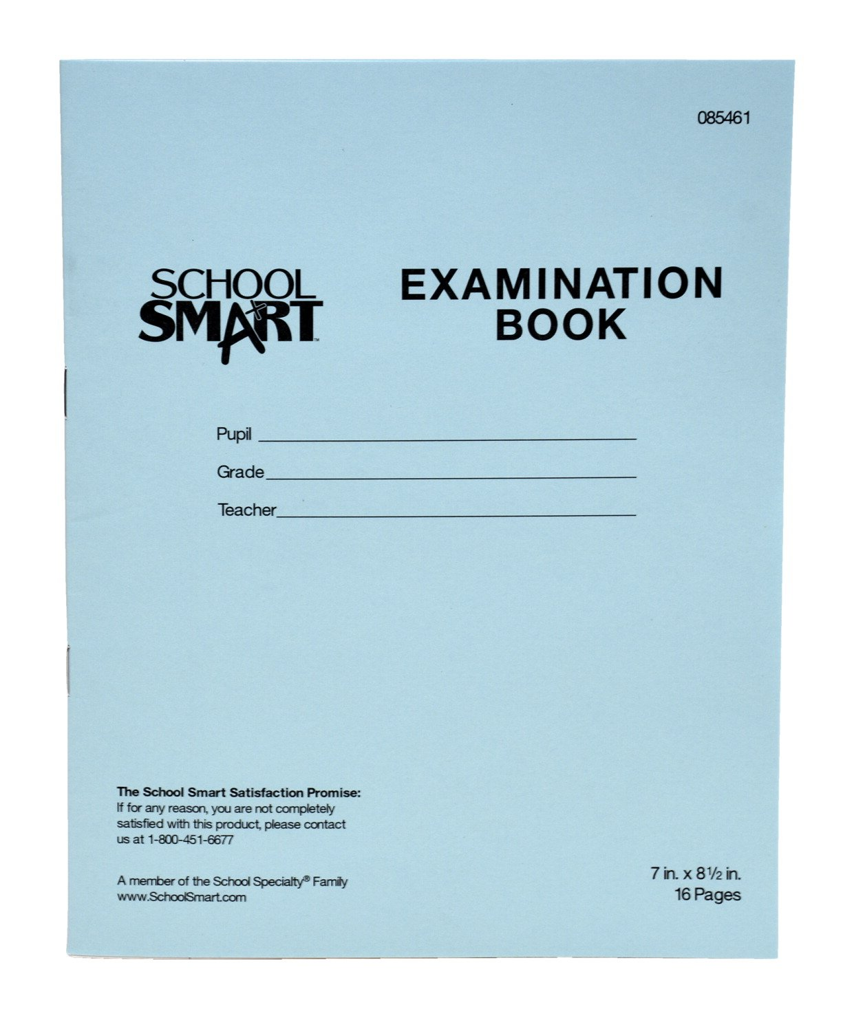 School Smart Ruled Examination Blue Books with Margin - 7 in x 8 1/2 in - Pack of 50, 16 Page Books