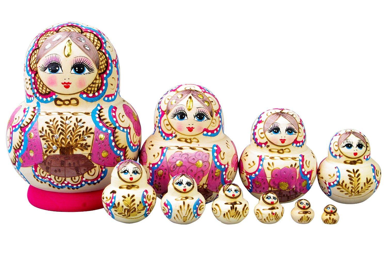 F.Dorla Beautiful Wooden Russian Nesting Doll Toy Russian Doll Wishing Dolls Handmade Hot Sale 10pcs (Multi Colour)