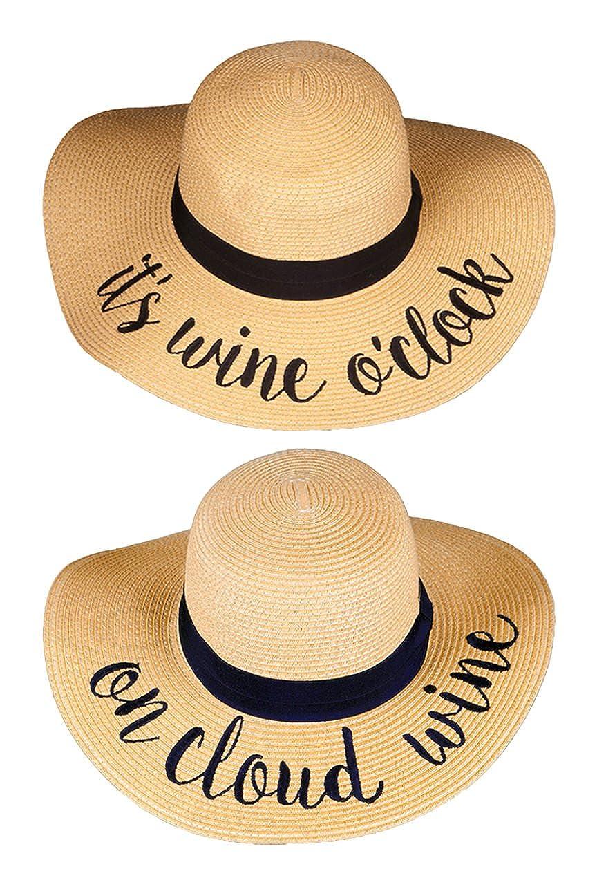 2 Sun Hats  It's Wine O'clock, on Cloud Wine Funky Junque Women's Bold Cursive Embroidered Adjustable Beach Floppy Sun Hat