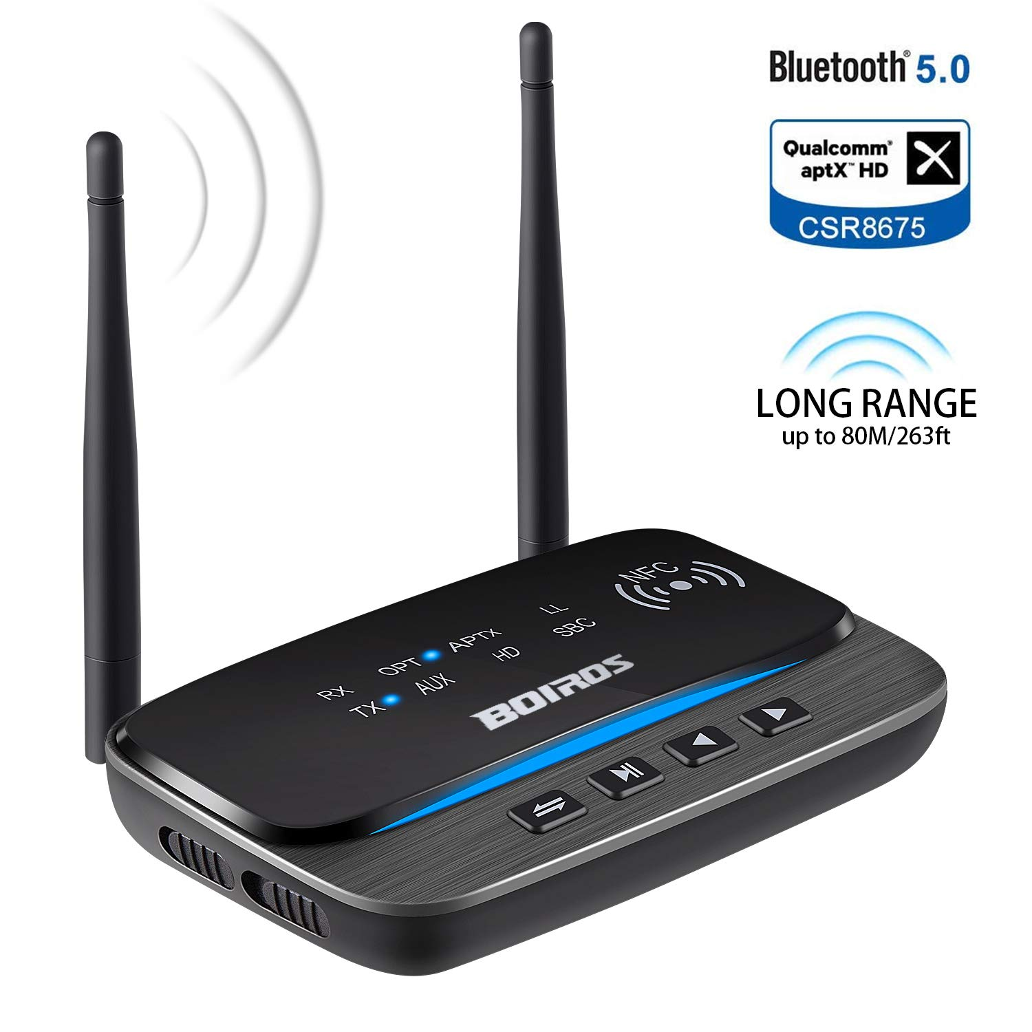Bluetooth 5.0 Transmitter Receiver, Long Range 263ft Wireless aptX HD Low Latency Upgraded 3 in 1 Bluetooth Audio Adapter Pair 2 Devices Hi-Fi Sound, Optical AUX RCA 3.5mm for TV Home Stereo System