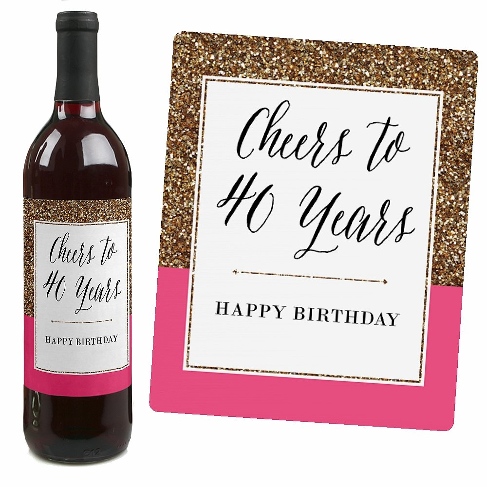 Chic 40th Birthday - Pink, Black and Gold - Birthday Gift For Women - Wine Bottle Label Stickers - Set of 4 by Big Dot of Happiness (Image #3)