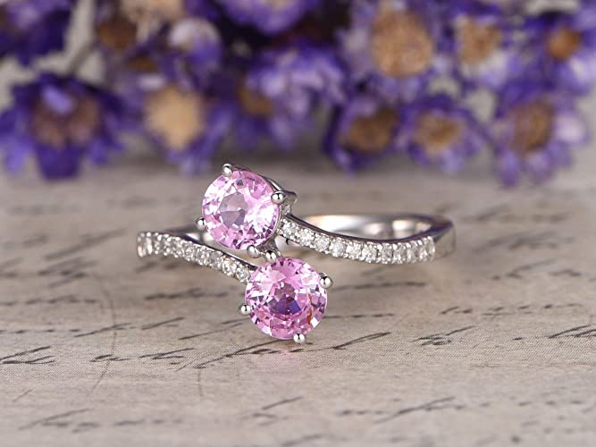 723bfad9c Natural Genuine 4.5mm Round Cut Pink Sapphire Engagement Ring Solid 14k  White Gold Half Eternity Diamond Wedding Band Bridal Ring Anniversary Gift  ...