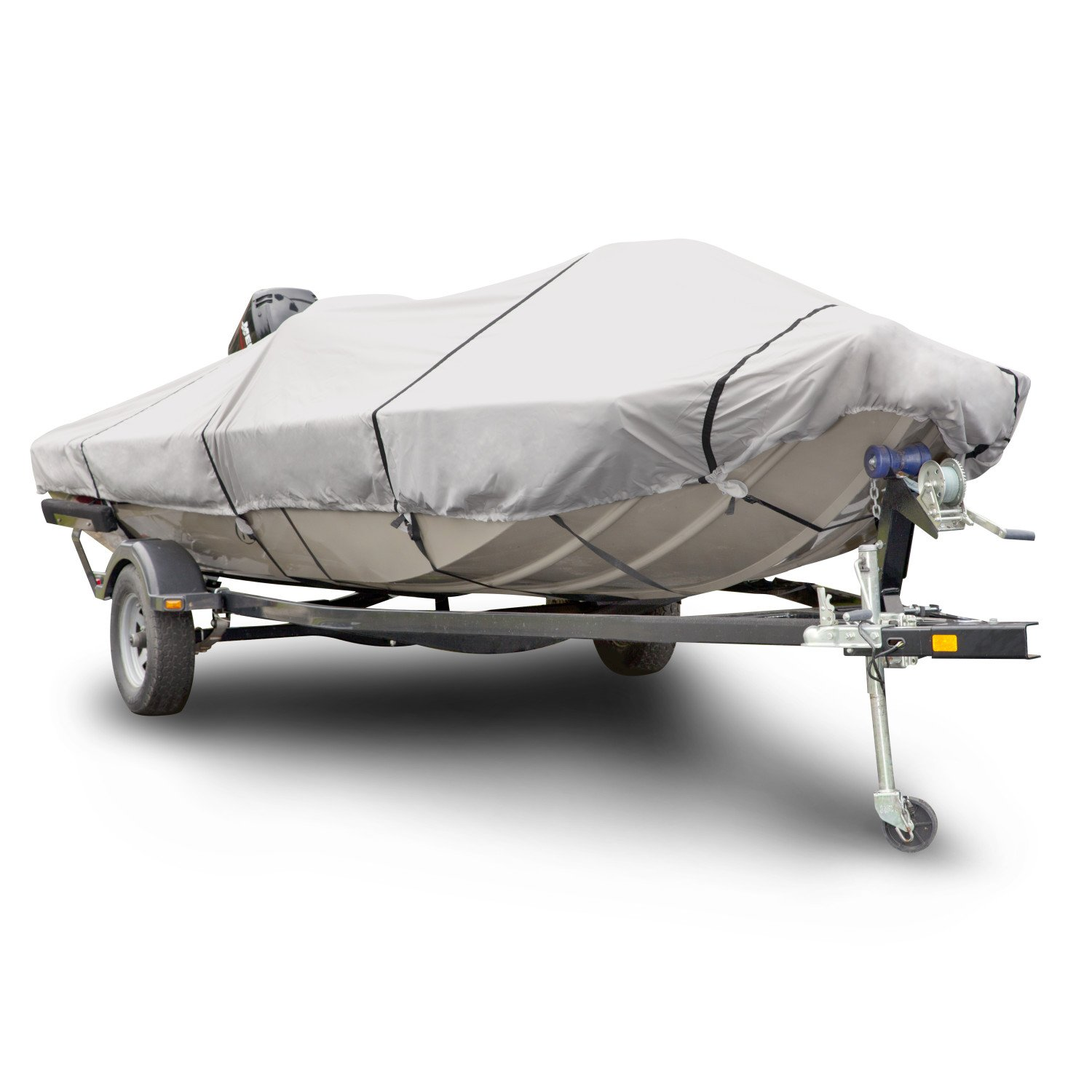 Budge 1200 Denier Boat Cover fits Low Profile Flat Front / Skiff / Deck Boats B-1211-X6 (20' - 22' Long, Gray)