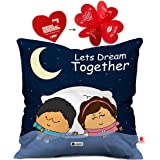 indibni Together Couple Cushion Cover 12x12 with Filler - Dark Blue Cute Gift for Girlfriend Boyfriend on Birthday Anniversary
