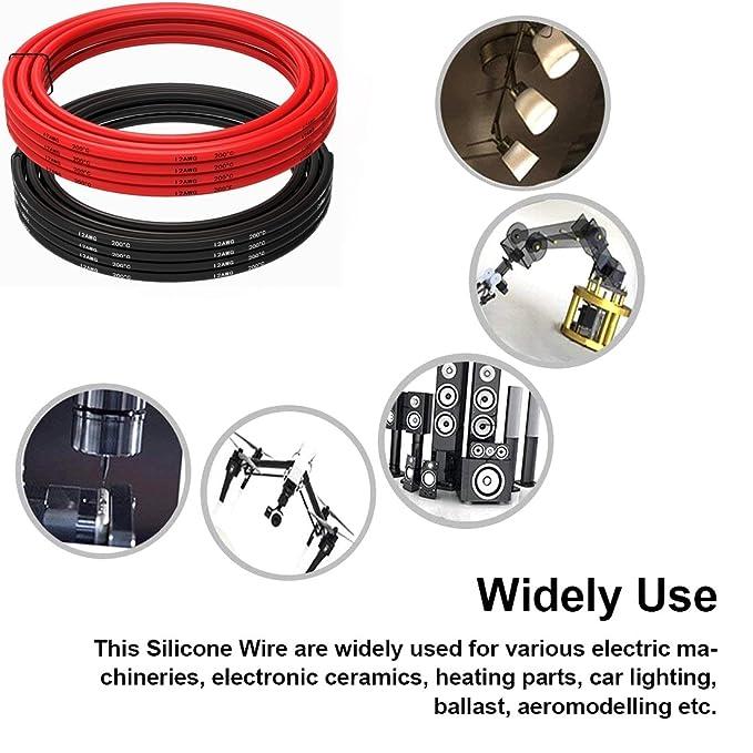 kabel 12 awg 12er silikon draht haken auf kabel (1,5 m schwarz und 1 ...