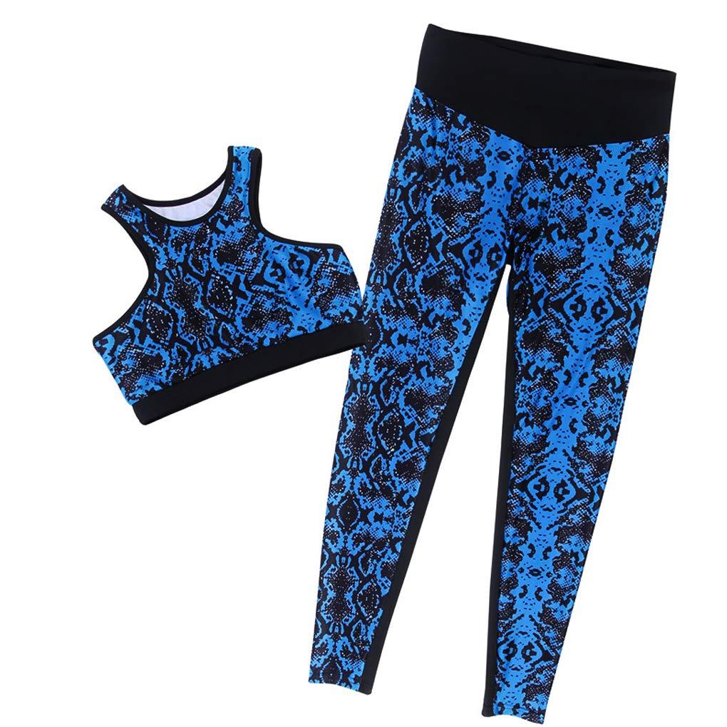 Minetom Donna Tuta Da Ginnastica 2 Pezzi Aderenti Senza Maniche Tops E Pantaloni Vita Alta Sportivo Estivo Stampa Sportwear Yoga Jogging Fitness QL180509-YW-DE12