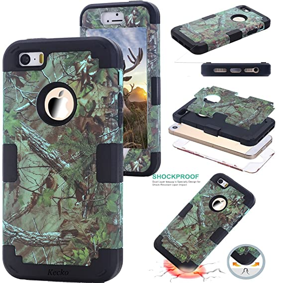 more photos a4859 6d165 iphone SE Camouflage Case,KeckoShock Absorption High Impact Real Hunting  Tree Camo Print Drop Resistant Tough Rugged Body Armor Protective Slim Fit  ...