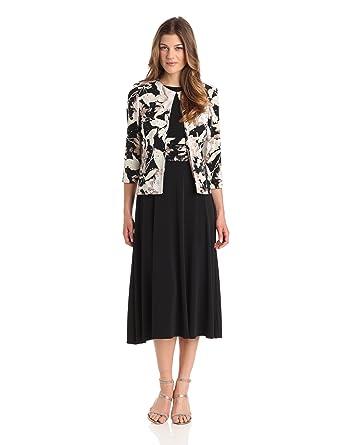 06744143f2d Amazon.com  Jessica Howard Women s 3 4 Sleeve Print Jacket Dress  Clothing