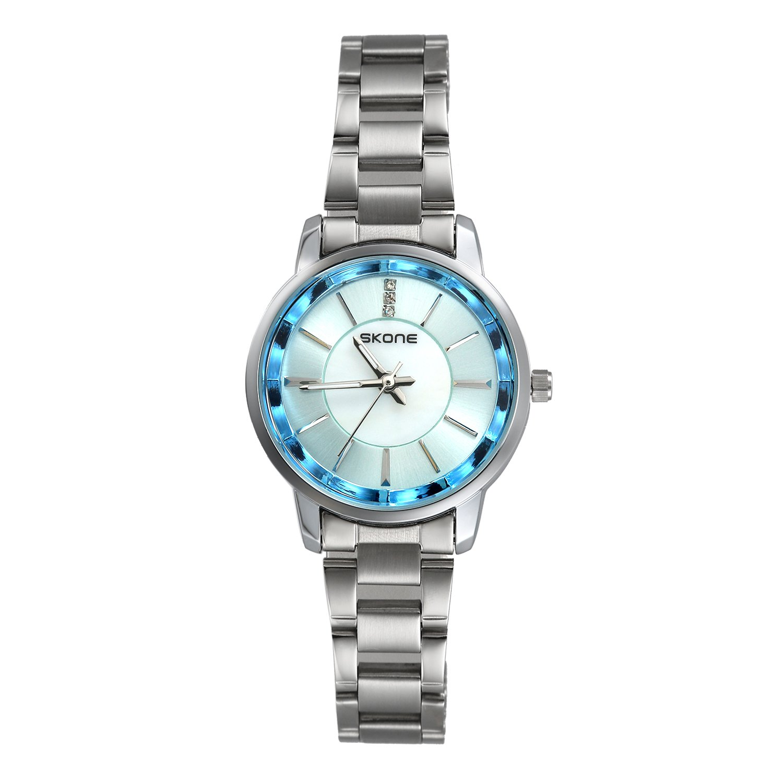 Ladies Dress Bracelet Bangle Crystal Rhinestone Blue Dial Small Face Sliver Tone Link Watch