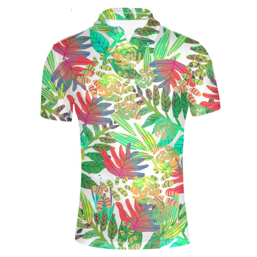 HUGS IDEA Men's Flower Leave Shirt Casual Button Down Polos T-Shirt Summer Breathable Short Sleeve Clothing