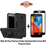 GOELECTRO MOTO E4 PLUS Back Cover / E4 PLUS (COMBO OFFER) Hard Armor Hybrid Bumper Flip Stand Rugged Back Case Cover For MOTO E4 PLUS / E4 plus with Free Full Coverage 2.5D Curved Tempered Glass Screen Protector (Black)