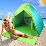 FBSPORT Beach Tent, UV Protection Automatic Pop Up Sun Shelter, Portable Outdoor Lightweight Beach Sun Shade Canopy Beach Tents Fit 2-3 Person