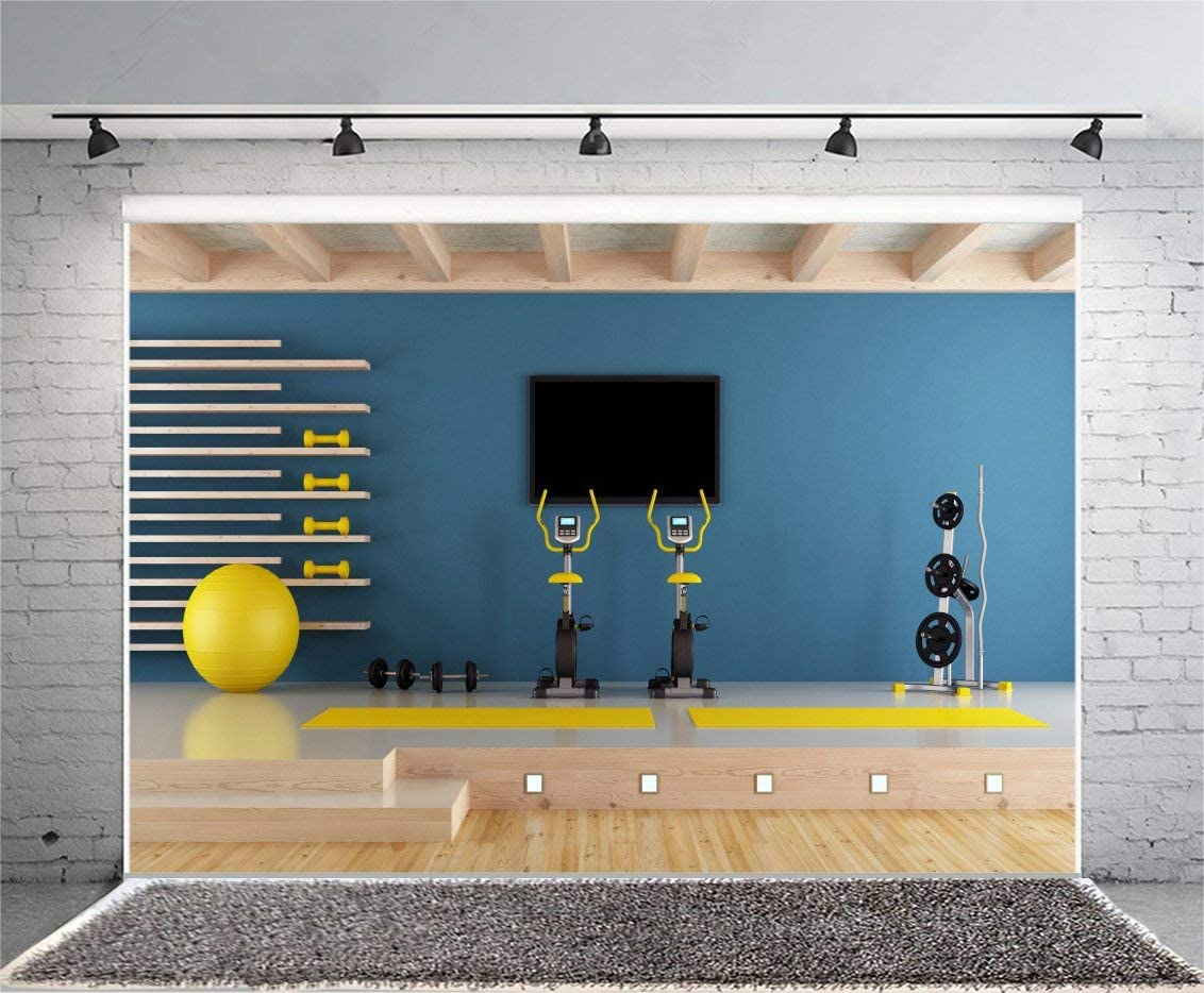 Gym Equipment Photography Background 10x6.5ft Blue Room Sport Training Fitness Weight Coach Apparatus Exercise Trainer Health Bodybuilding Wood Overweight Body Handle