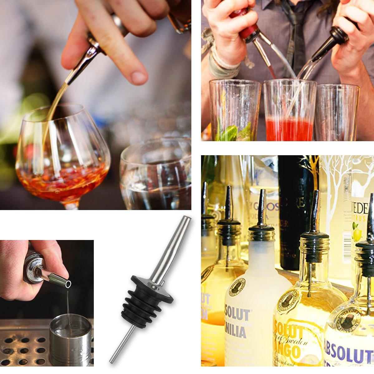 Ausgießer [8 Stück/Set,Edelstahl ] Flaschenausgießer & Portionierer mit Gummistopper für Flaschen Bar Ausgießer