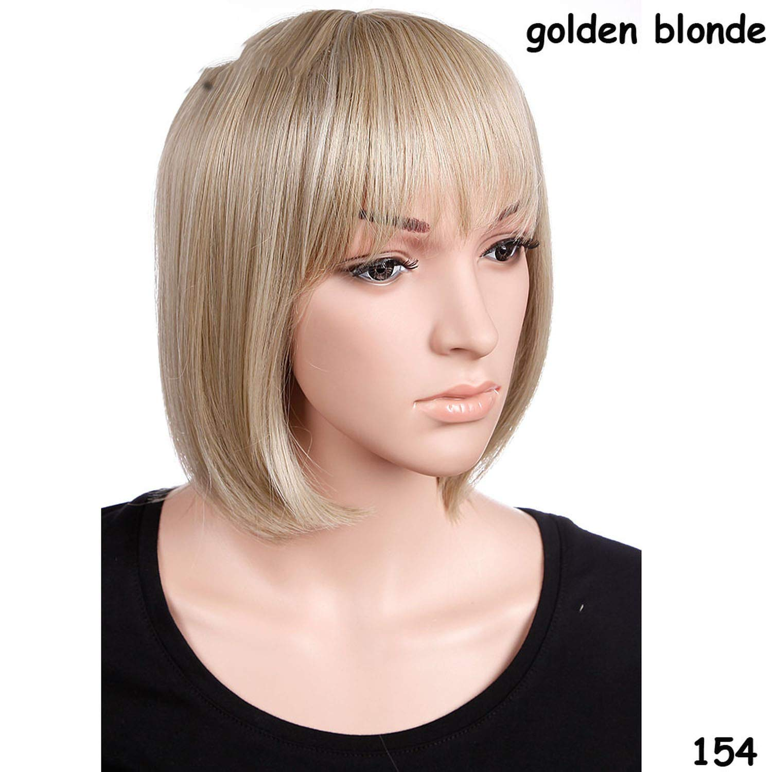 Amazon.com   Short Straight Wigs Women s Head Wig Heat Resistant Synthetic  real Thick Hair f5cce2de67