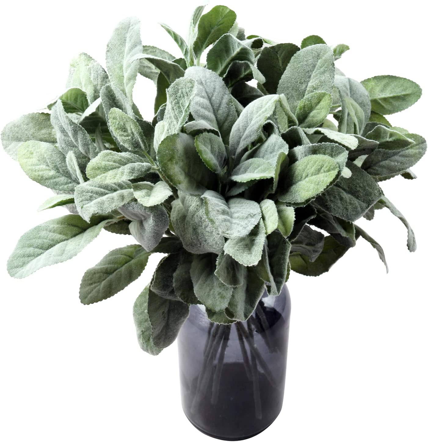 Amazon Com Shacos 12 Pcs Artificial Flocked Lambs Ear Spray Lambs Ear Stems Foliage Picks Artificial Greenery Plant For Home Wedding Diy Craft Floral Arrangement 12 Pcs Green Kitchen Dining
