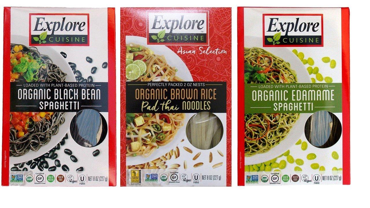 Explore Cuisine Organic Gluten Free Pasta 3 Flavor Variety Bundle: (1) Black Bean Spaghetti, (1) Edamame Spaghetti, and (1) Thai Brown Rice Pad Thai Noodles, 8 Ounces Each