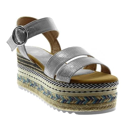 949fa48f721995 Angkorly - Chaussure Mode Sandale Mule lanière Cheville Plateforme Folk Femme  Multi-Bride Peau de
