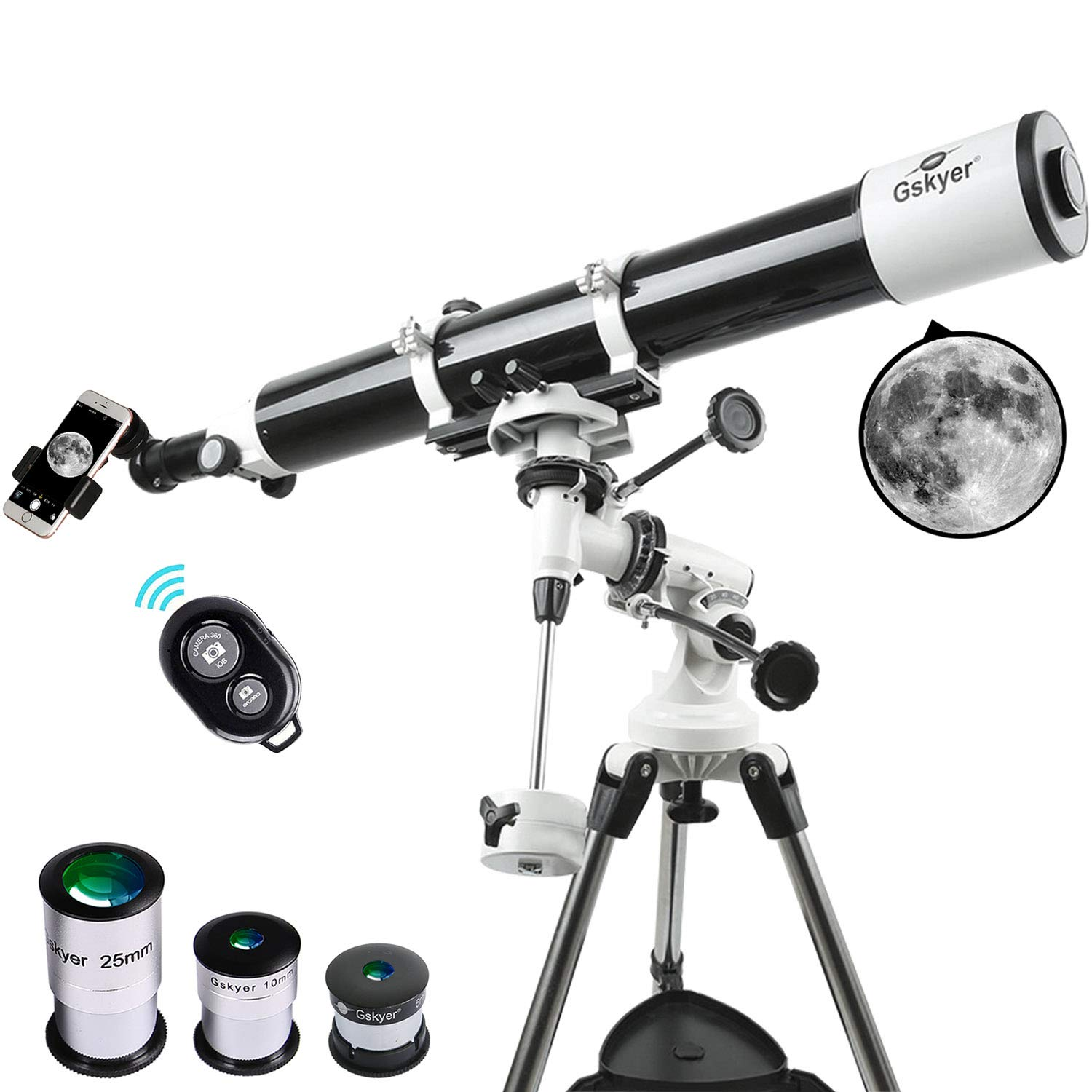 Gskyer Telescope, Astronomy Refractor Telescope, 80mm Aperture Travel Scope for Kids & Beginners - with Smartphone Adapter & Wireless Camera Remote by Gskyer