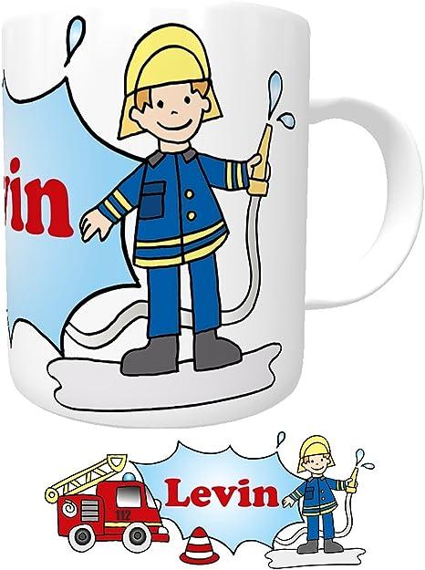 Tasse mit Namen Feuerwehrmann Personalisiert Kindertasse Wunschname