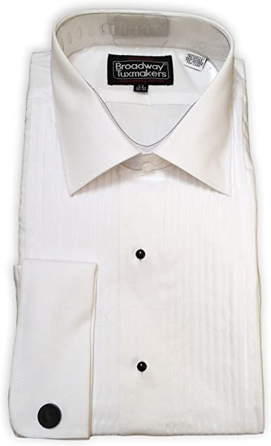 100% Cotton Lay Down Collar Tuxedo Shirt, Studs & Cuff Links at Amazon Men's  Clothing store