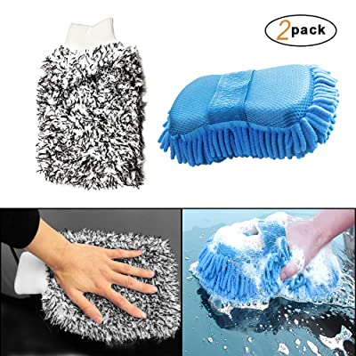 Xinker Ultimate Car Wash Mitt - 2 Pack - Premium Chenille Microfiber Wash Mitt - Wash Sponge - Wash Glove - Lint Free - Scratch Free- Premium Cyclone Microfiber Washing Gloves(Blue): Automotive