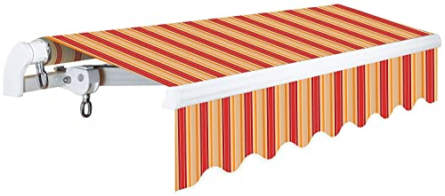 ADVANING 12 x10 Manual Patio Retractable Awning S Series Premium Quality, 100 Solution-Dyed UV80 Sun Shade, Color Desert Red Stripes, MA1210-A063N
