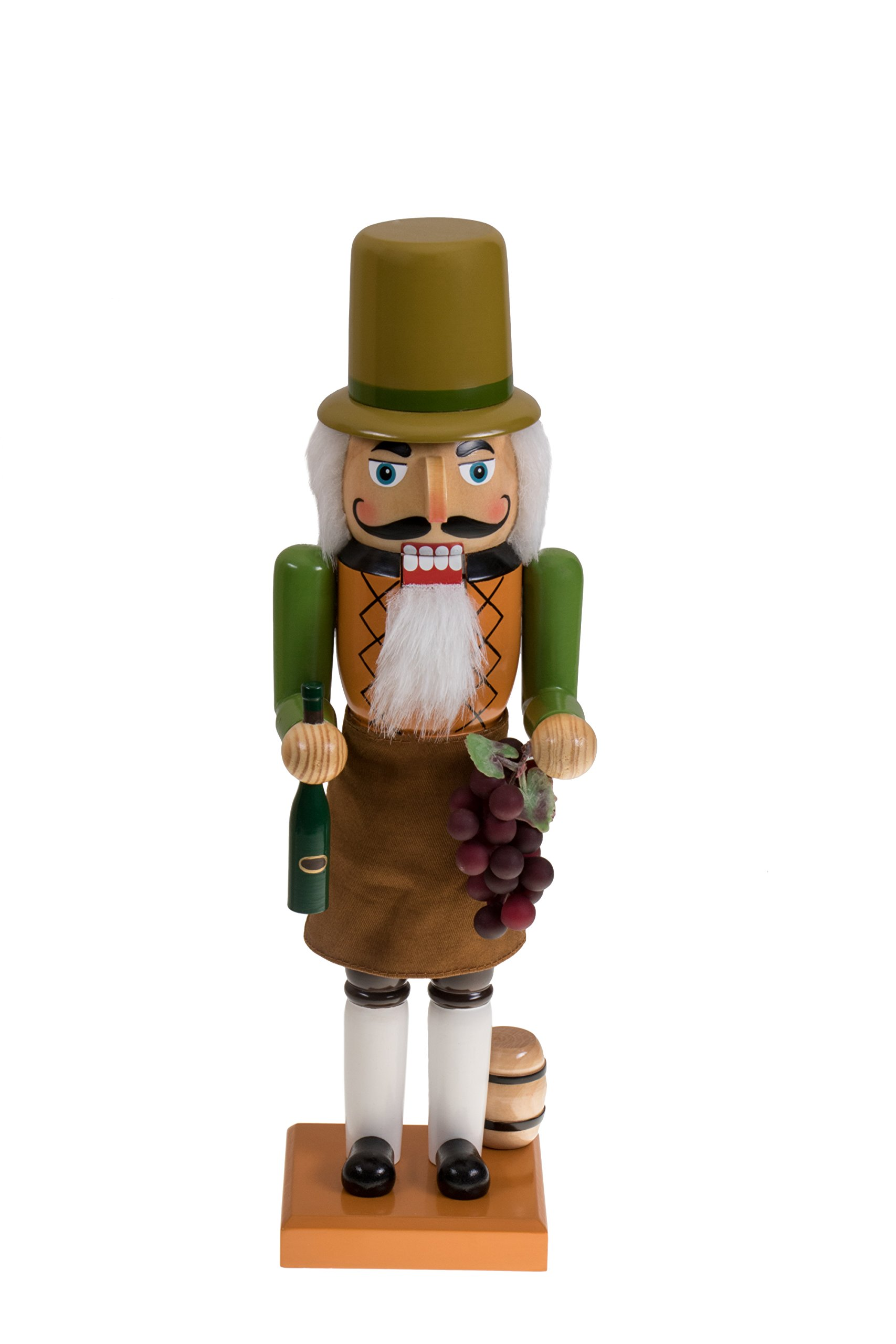 Italian Nutcracker by Clever Creations | Wearing Vineyard Outfit | Holding Grapes and a Bottle of Wine | Fun Christmas Decor | Perfect Addition to Any Collection | 100% Wood | 14'' Tall