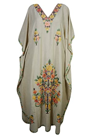 47870ba5675ea Mogul womens evening kaftan floral embroidery kashmiri caftan maxi dress  cover up beige embroidered jpg 296x445