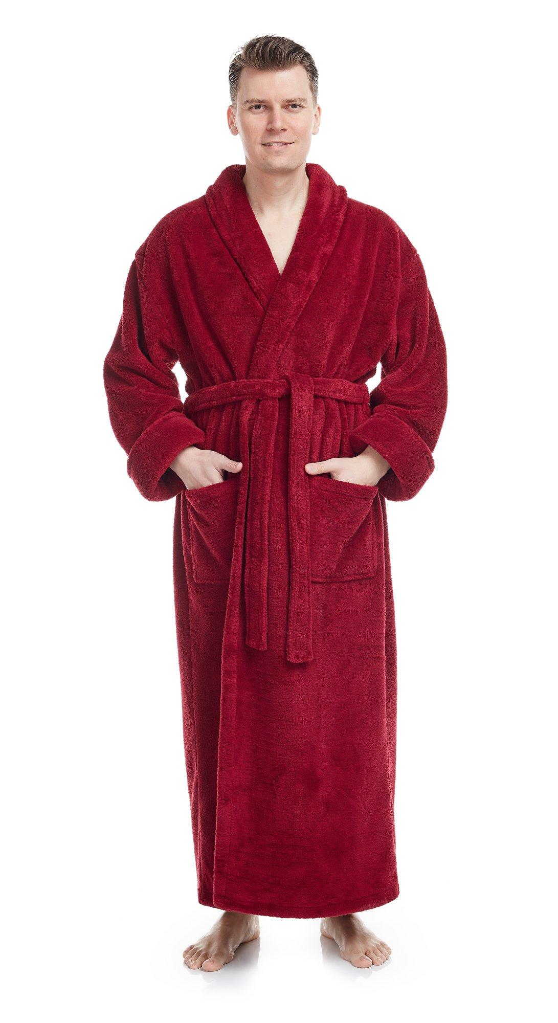 Arus Men's Shawl Collar Full Length Long Fleece Robe, Turkish Bathrobe, Wine, L/XL