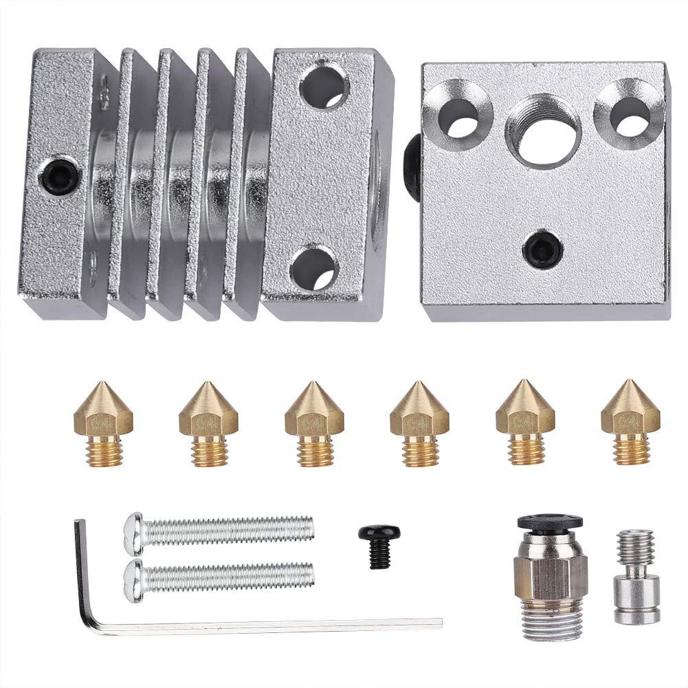 ASHATA MK8 D/üse Extruder Kit,3D Drucker Edelstahl Hotend Extruder DIY Kits Aluminium Heizbl/öcke+0,4mm Messing D/üsen Druckk/öpfe Set f/ür Creality CR10 CR10S CR10S4 CR10S5