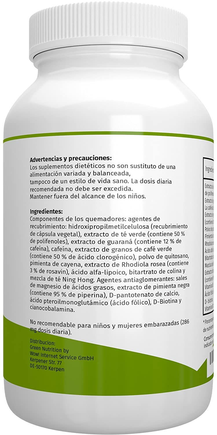 Green Nutrition - F-Burn (quemagrasas) - 90 cápsulas - 100% natural - extracto de guaraná - café verde - vitamina B6 y B12: Amazon.es: Salud y cuidado ...