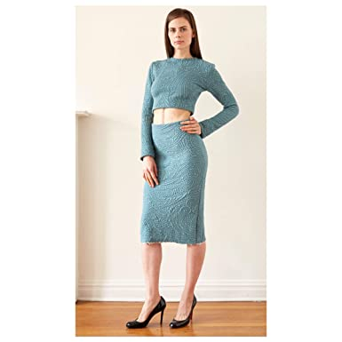 f3a47296f Turquoise Paisley Sweater Pencil Skirt Cropped Long Sleeve Top Set (0)