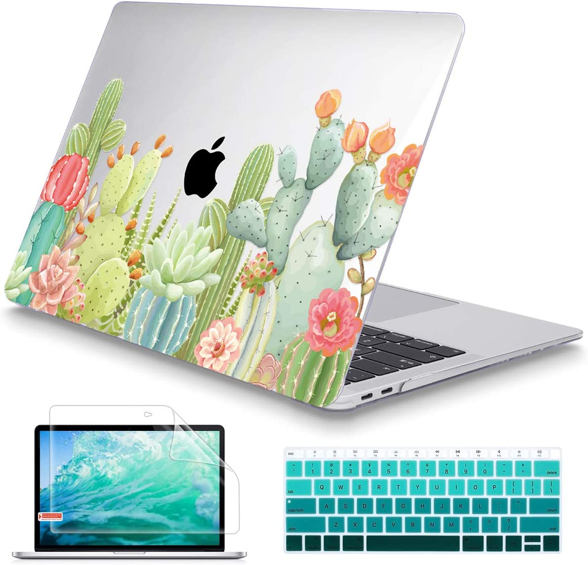 May Chen MacBook Air 13 Inch Case 2018 2019 2020 Release A1932 A2179,Beautiful Succulents Crystal Clear Hard Shell Only Compatible for New MacBook Air 13 & Retina Dispaly Touch ID