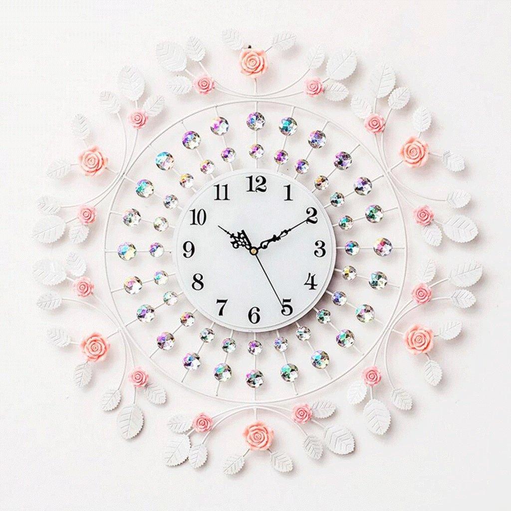 GAOLILI エレガントなローズクロックリビングルームのベッドルームクリエイティブクォーツ時計 ( 色 : 白 ) B07C3X1VCB白