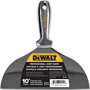 DEWALT One-Piece Stainless Steel Joint Knife, 10-Inch | Professional-Grade Putty Blade, Premium Polished Metal | 2-410