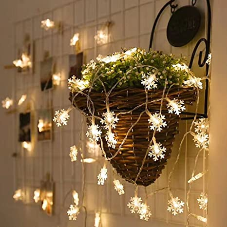 LED String Lights Qorol Christmas Snowflake Lights Battery Operated ...
