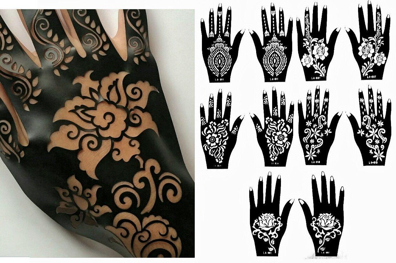 Amazon Com Henna Stencil Tattoo 10 Sheets Self Adhesive Beautiful Body Art Designs Temporary Tattoo Templates Beauty