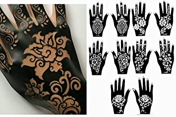9805bf2375f53 Amazon.com : Henna Stencil Tattoo (10 Sheets) Self-Adhesive Beautiful Body  Art Designs - Temporary Tattoo Templates : Beauty