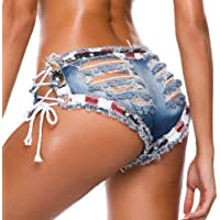 Women's Low Waist Sexy Denim Short Hot Pants Ripped Lace Up Shorts Jeans