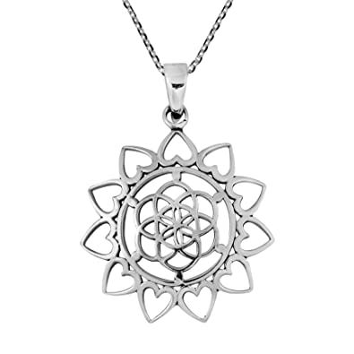 Amazoncom Aeravida Sacred Geometry Lotus Flower Of Life Heart
