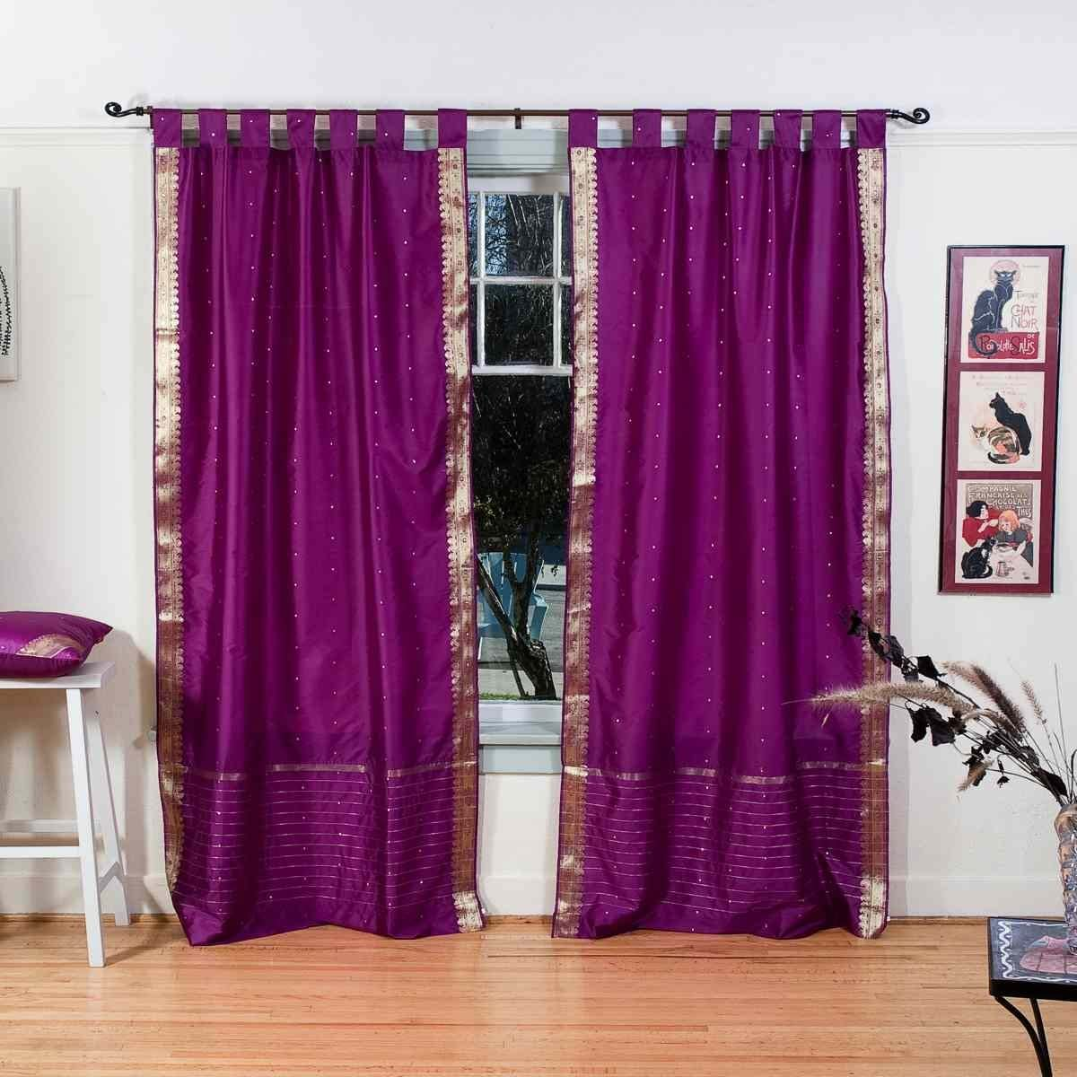 Indian Selections Lined-Violet Red Tab Top Sheer Sari Curtain Drape – 80W x 120L – Piece