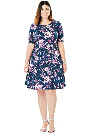 Jessica London Women\'s Plus Size Ponte Knit Elbow Dress with Scoop Neckline