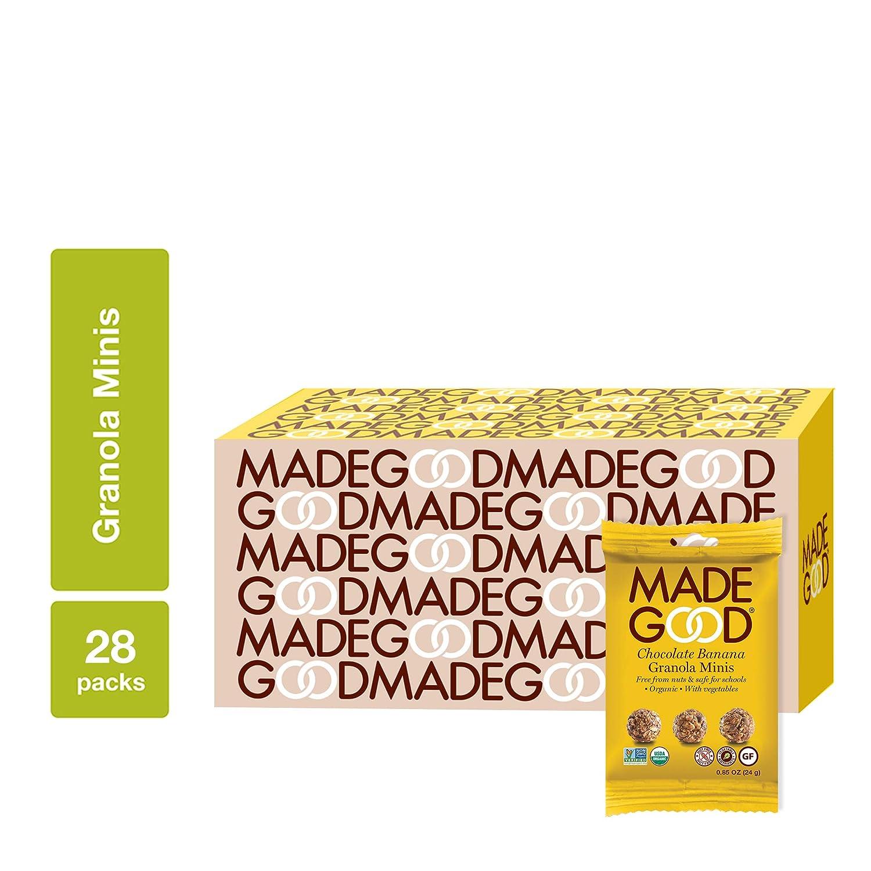 MadeGood Chocolate Banana Granola Minis; 28 Count of Rich Dark Chocolate Chips and Gluten Free Oats