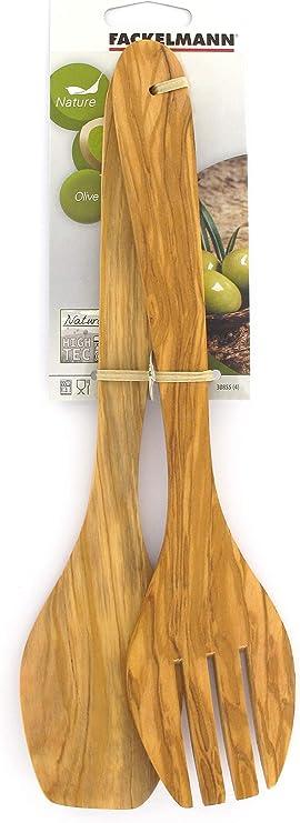 braun 30 x 6,5 x 2 cm FACKELMANN Salatbesteck Bambus