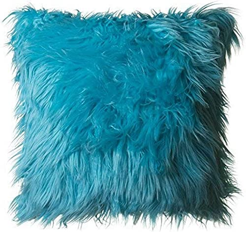 North End Decor Faux Fur 18 x18 with Insert, Mongolian Long Hair Turquoise Throw Pillows, 18×18 Stuffed, Blue